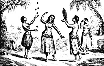 Vava'u (Tonga) girls playing traditional games, perhaps pictured on Malaspina's voyage of 1793